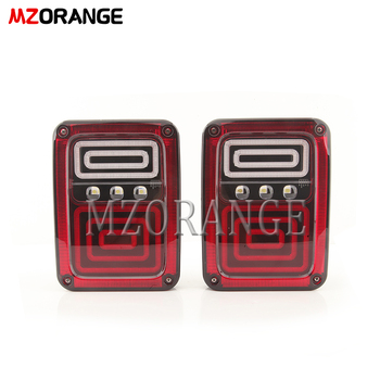 MZORANGE 2 Pcs USA Standard Taillight LED Car Accessories Rear Brake Turn Signal Tail Light For Jeep Wrangler JK 2007-2017