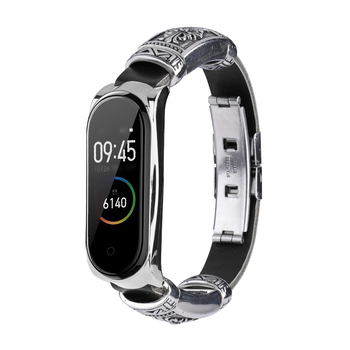 Smart Bracelet Strap Metal+Leather Watchband For Xiaomi Mi Band 5 4 3 Replacement Wrist Strap For Mi Band3 4 5 Watchstrap