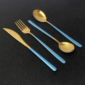 4 sztuk zestaw 18 10 ze stali nierdzewnej turkusowo-złota naczynia zestaw sztućców nóż widelec łyżka sztućce zestaw zastawa stołowa do kuchni zestaw sztućców tanie i dobre opinie uniturcky CE UE Metal Ekologiczne Zestawy sztućców