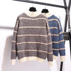 Image 4 - 秋冬プルオーバーニットトップ格子縞のスカート 2 個セットストライプ長袖セーター + ハイウエストチェック柄ショーツ 2 ピースセット