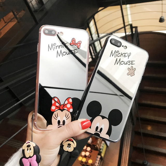 2019 Cute Mickey Case For iPhone 6 s 6S Phone 8 Plus X 10 5 5S 5SE 6 6S 7 8 Plus XS XR XS Max Minnie Mirror Cell Phone Cover