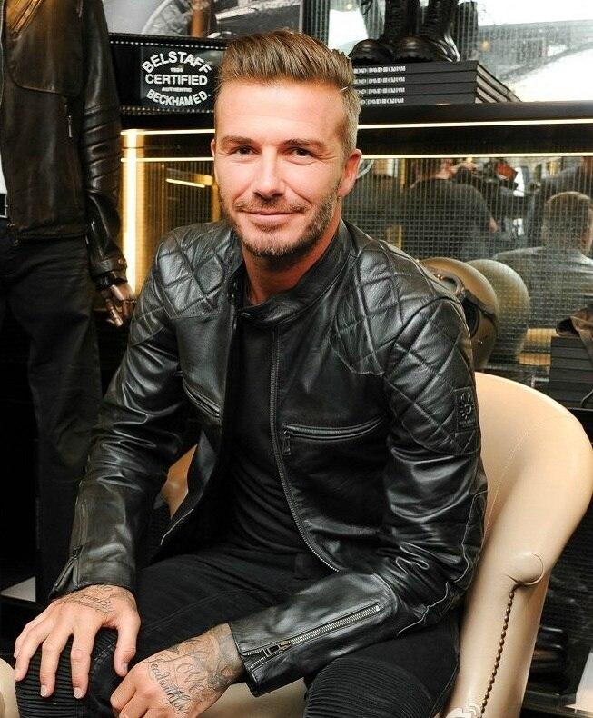 Erkek Kıyafeti'ten Hakiki Deri Montlar'de Ücretsiz kargo. satış klasik motor biker deri ceket, moda erkek hakiki deri ceket, kış sıcak ince koyun Beckham'da  Grup 1
