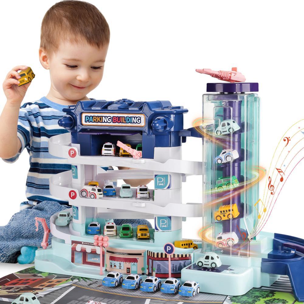 Игрушка для детей с электрическим треком, игрушка для парковки с 4 миниатюрными литыми машинками, обучающие игрушки для мальчиков