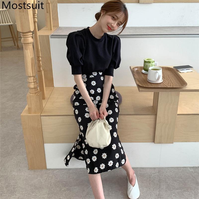 2020 Summer Korean Two Piece Sets Women Short Sleeve Tops + Daisy Printed Mermaid Long Skirt Suits Fashion Elegant Ladies Sets