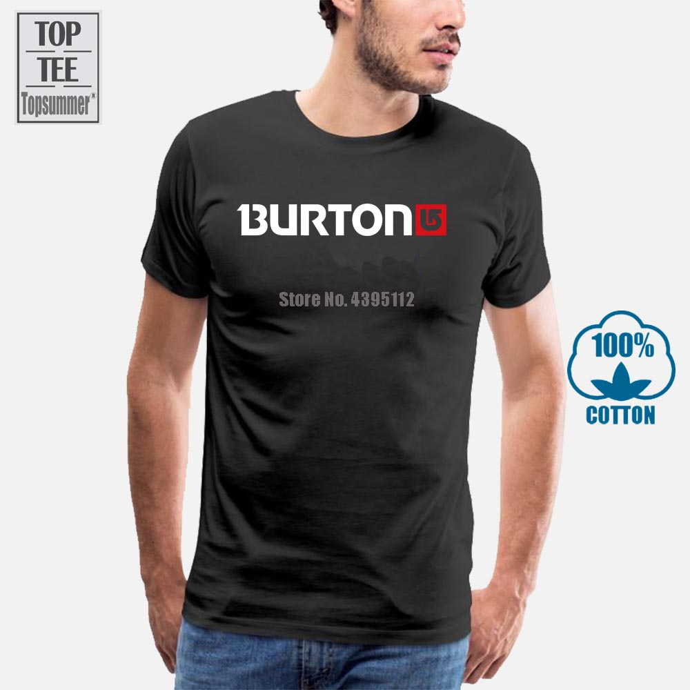 New Burton Arrow Logo Snowboards Men'S T-Shirt Black Brand Clothing Tee Shirt
