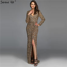 Dubai Luxury Gold Long Sleeves Latest Evening Gown Designs 2019 Beading Sequined Evening Gown Real Photo LA60769(China)