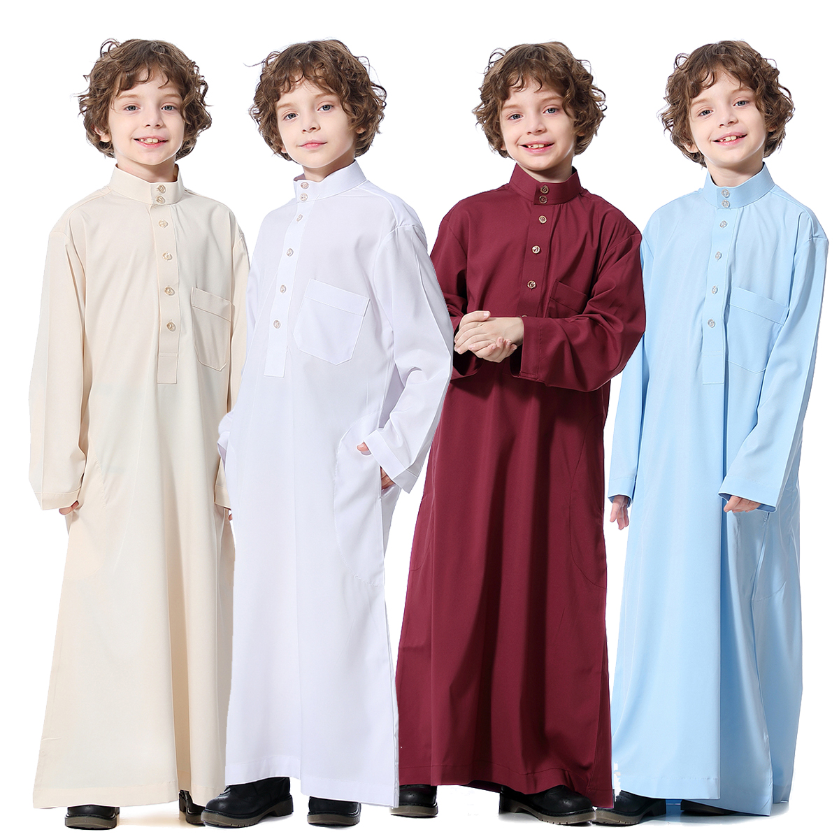 Arabic Jubba Thobe Thoub Muslim Arab Boys Robe Dishdasha Islamic Abaya Clothing Long Sleeve Middle East Teenage Boy Robe Clothes