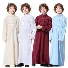 Arabski Jubba Thobe Thoub muzułmańskie arabskie chłopcy szata Dishdasha islamska Abaya odzież z długim rękawem bliski wschód nastoletni chłopiec szata ubrania