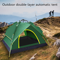 Fully automatic double layer tent 3 4 people camping tent, easy to instantly set up a portable backpack for awning, hiking