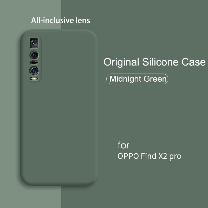 Original Liquid Silicone Case For OPPO Find X2 Pro Case Luxury Full Protection Soft Flannel Microfiber Shockproof Cover Find X