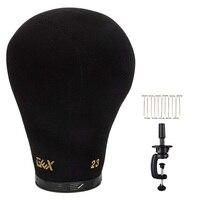 GEX черный пробковый холст блок голова манекен головной парик дисплей Стайлинг голова с креплением отверстие 20