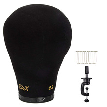 "GEX Black Cork Canvas Block Head Mannequin Head Wig Display Styling Head With Mount Hole 20"" 24"""
