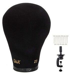 """Image 1 - GEX czarna korkowa główka bloku manekin głowa z peruką wyświetlacz głowica stylizująca z otworem montażowym 20 """" 24"""""""