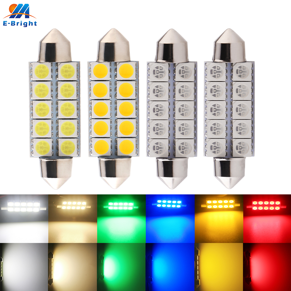 44mm 1.73in 4pcs C5W C10W 5050 10 SMD LED Car License Plate Light Bulb Dome Festoon Lamp Warm White Red Green Blue Amber DC12V
