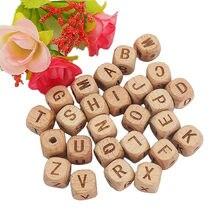 Chenkai 12mm 100 pçs quadrado de madeira contas alfabeto A-Z carta contas para bebê manequim mastigável enfermagem chupeta corrente acessórios