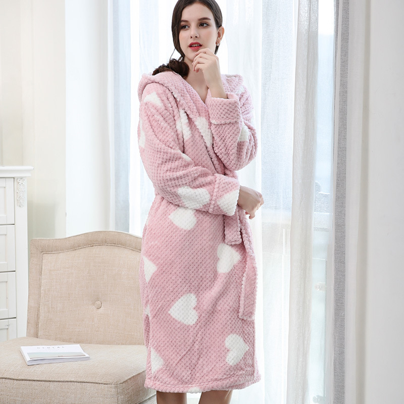 Cold Winter Warm Bathrobe Kimono Woman Cotton Long Sleeve Coral Fleece Pajamas Leisure Nightie Dressing Gowns For Women