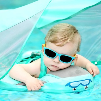 Baby Infant Solid Non-inflatable Lying Swimming Ring Waist Float   Swim Trainer Sunshade Swim Ring With Sun Canopy