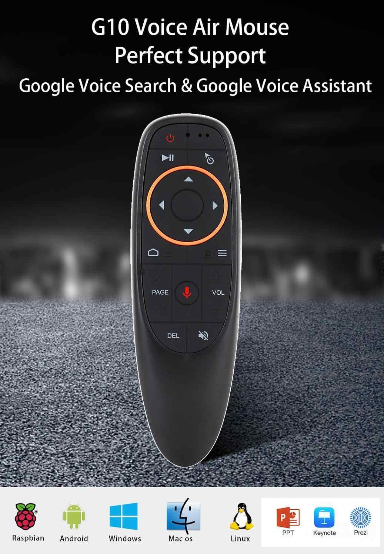 G10 Control remoto de voz 2,4G inalámbrico ratón de aire micrófono giroscopio IR aprendizaje para Android tv box PRO H96Max X96 mini