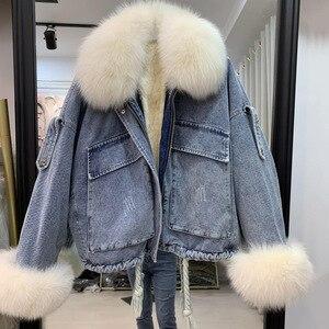 Image 4 - נשים של ג ינס מעיל עם פרווה טבעי שועל פרווה צווארון שרוול אמיתי רקס ארנב פרווה בטנת חורף נקבה מעילים חמים מפציץ שובר רוח