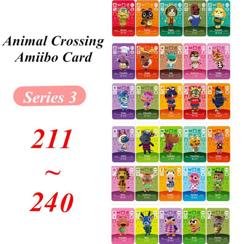 Animal Crossing Card Amiibo NFC Series 3 Card For Nintendo Switch NS Games Series 3  (211 To 240)