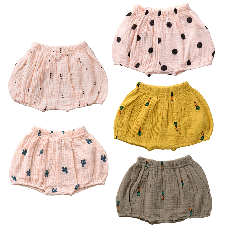 Red, 1-2Y Baby Girl Solid Cotton Pants Baby Girl Trousers Summer Bloomers Pants