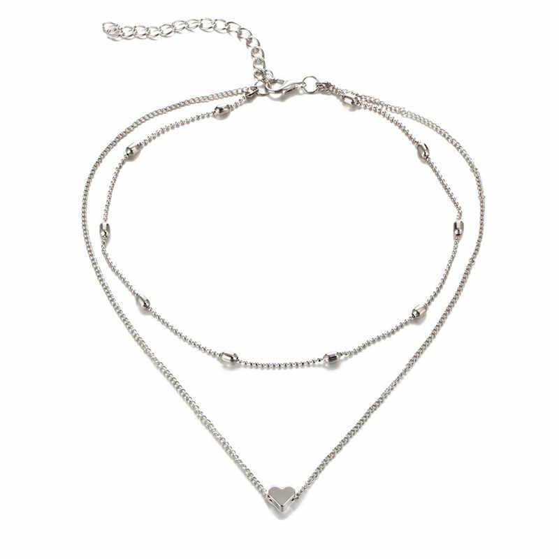 פשוט אופנה נשי עצם הבריח תליון אפרסק לב רב שכבה עצם הבריח צוואר שרשרת שרשרת לב בצורת תליון