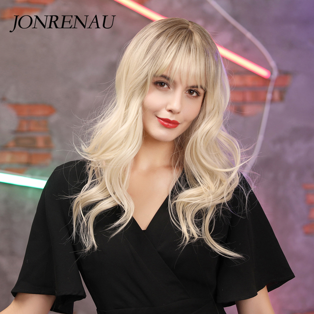 JONRENAU 24 inches 9 Colors Long Brown Root Ombre Blonde Wig Synthetic Natural Wave Wigs with Bangs for Black/White Women 4