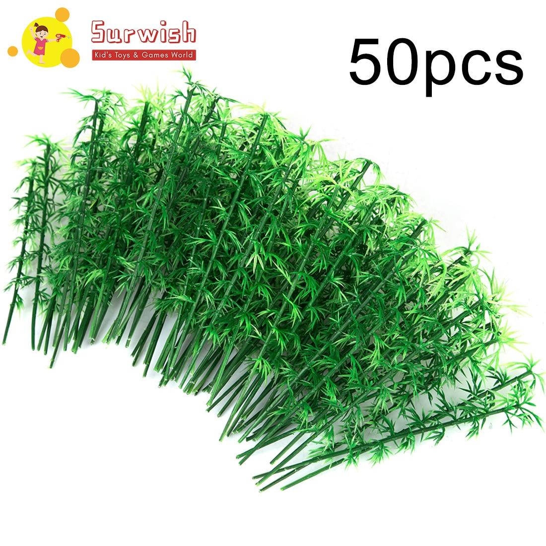 Surwish 50/100pcs 12/13/15cm Plastic Miniature Model Tree Landscape Bamboo Tree Sand Table Model Decor Model Building Kits