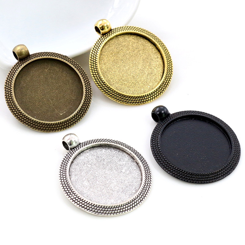 New Fashion 5pcs 25mm Inner Size Antique Silver/Gold Plated Bronze Black Colors Cool Style Cabochon Base Setting Charms Pendant