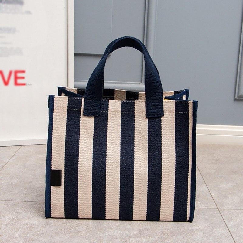 2019 Korean Version Of The Sleek Minimalist Canvas Bag Art Small Fresh Striped Handbags Women\'s Bags