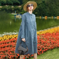 Spring New Stripe Dress Street Style Printed Single Breasted Long Sleeve Fashion Loose Shirt A Line Dress S XL