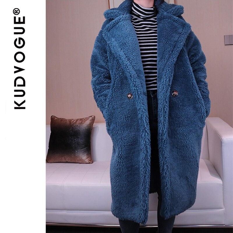 Image 4 - Winter Overcoat Women Faux Fur Coat Luxury Long Fur Coat teddy  Jacket Loose Lapel Shaggy Coat Plus Winter Thick Warm FluffyFaux Fur