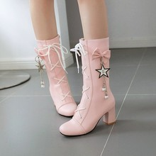 Wedding-Boots Chunky High-Heels Lolita Pink Elegant White Women PXELENA Bride Mid-Calf