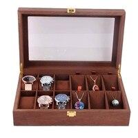 그리드 레트로 나무 시계 디스플레이 케이스 내구성 포장 홀더 보석 컬렉션 스토리지 시계 주최자 상자 상자