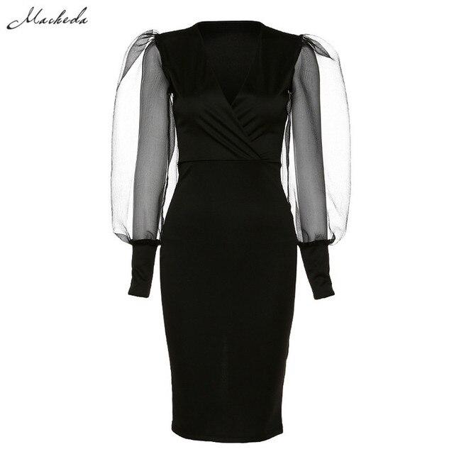 Sexy 2020 black sexy elegant Low bosom patchwork mesh puff sleeve bodycon dress woman fashion club party banquet slim dress 7