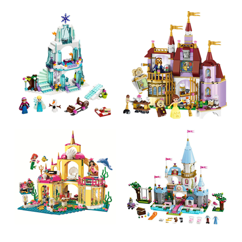 Princess Cinderella Compatible With Legoinglys Elsa Anna Mermaid Ariel Castle Building Blocks Figure Girl Friends Bricks Toys
