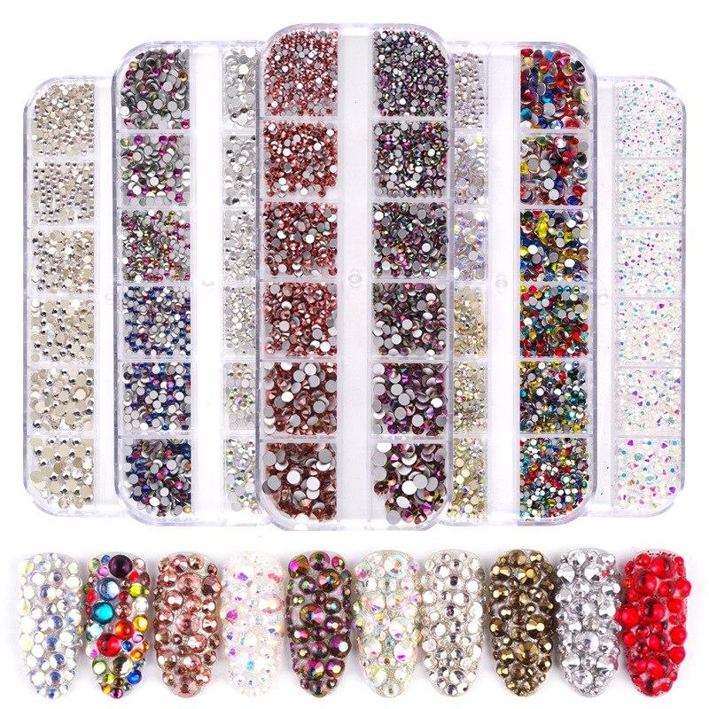12 Сетки 1440 шт смешанные размеры стекло кристалл не горячей фиксации Стразы Flatback кристалл 3D Блеск для ногтей Стразы s украшения