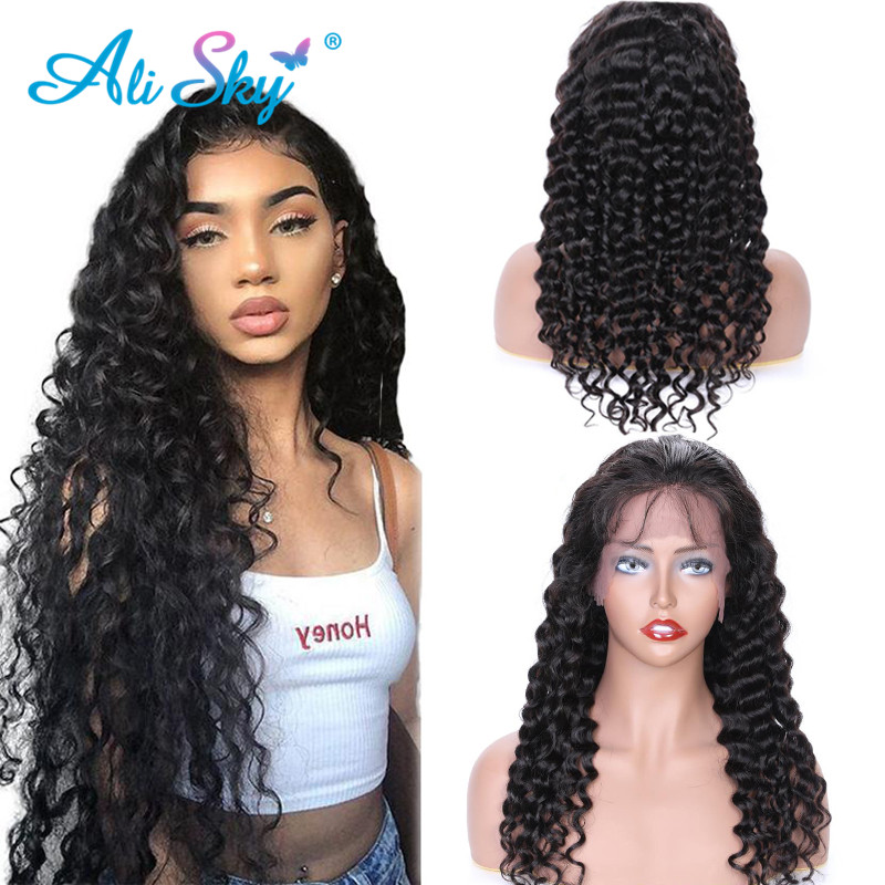 Ali Sky Hair Peruvian Deep Wave Lace Front Wig For Black Women 100% Remy Human Hair Wigs With Baby Hair Natural Color 13*4