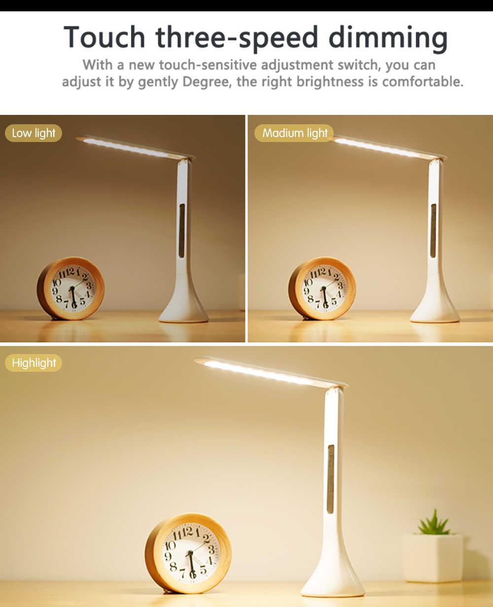 2019new led 데스크 램프 접이식 디 밍이 가능한 터치 테이블 램프 달력 온도 알람 시계 테이블 라이트 야간 조명