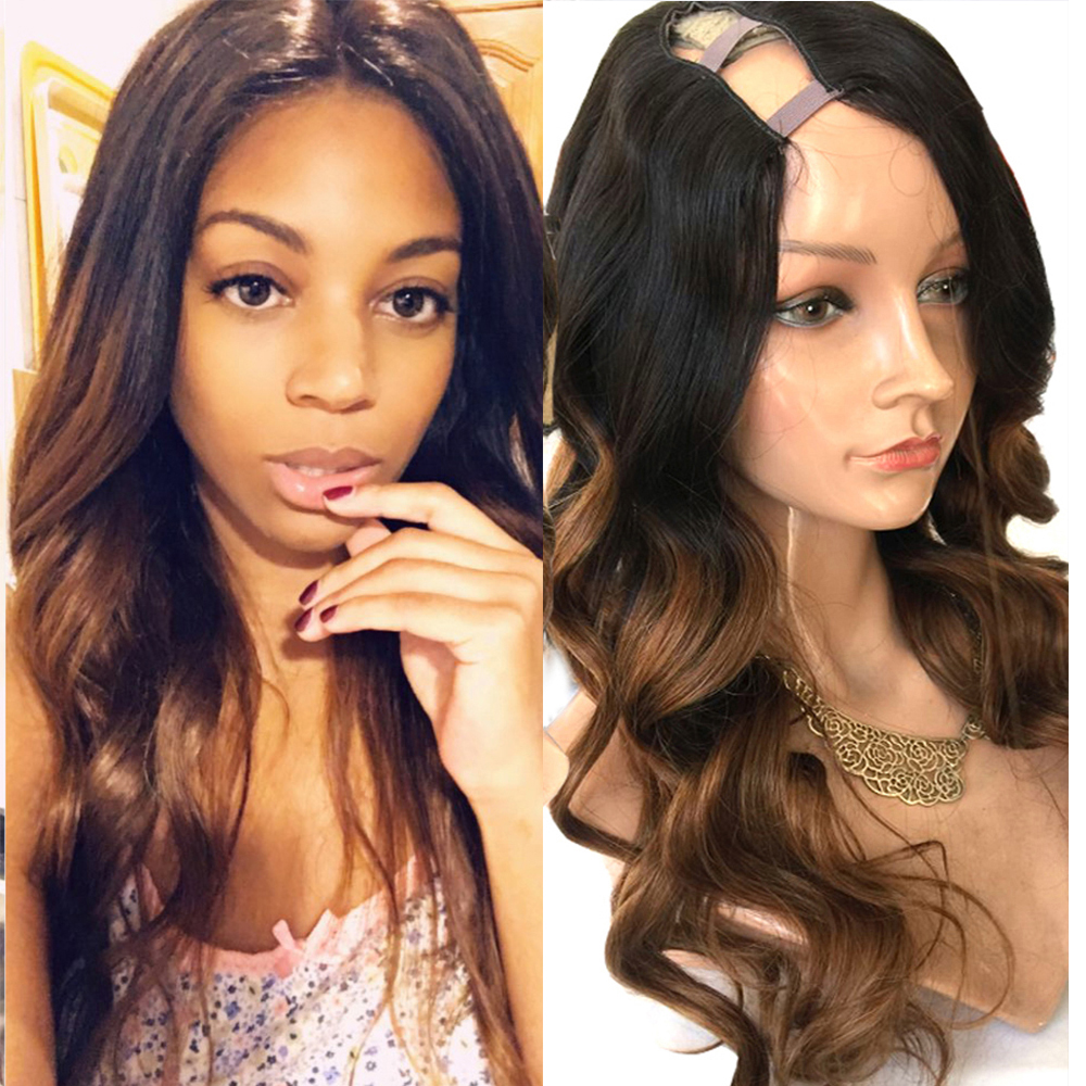 Simbeauty Ombre Brown U Part Human Hair Wigs Body Wave  Brazilian Remy Hair Right Side Part 1*4