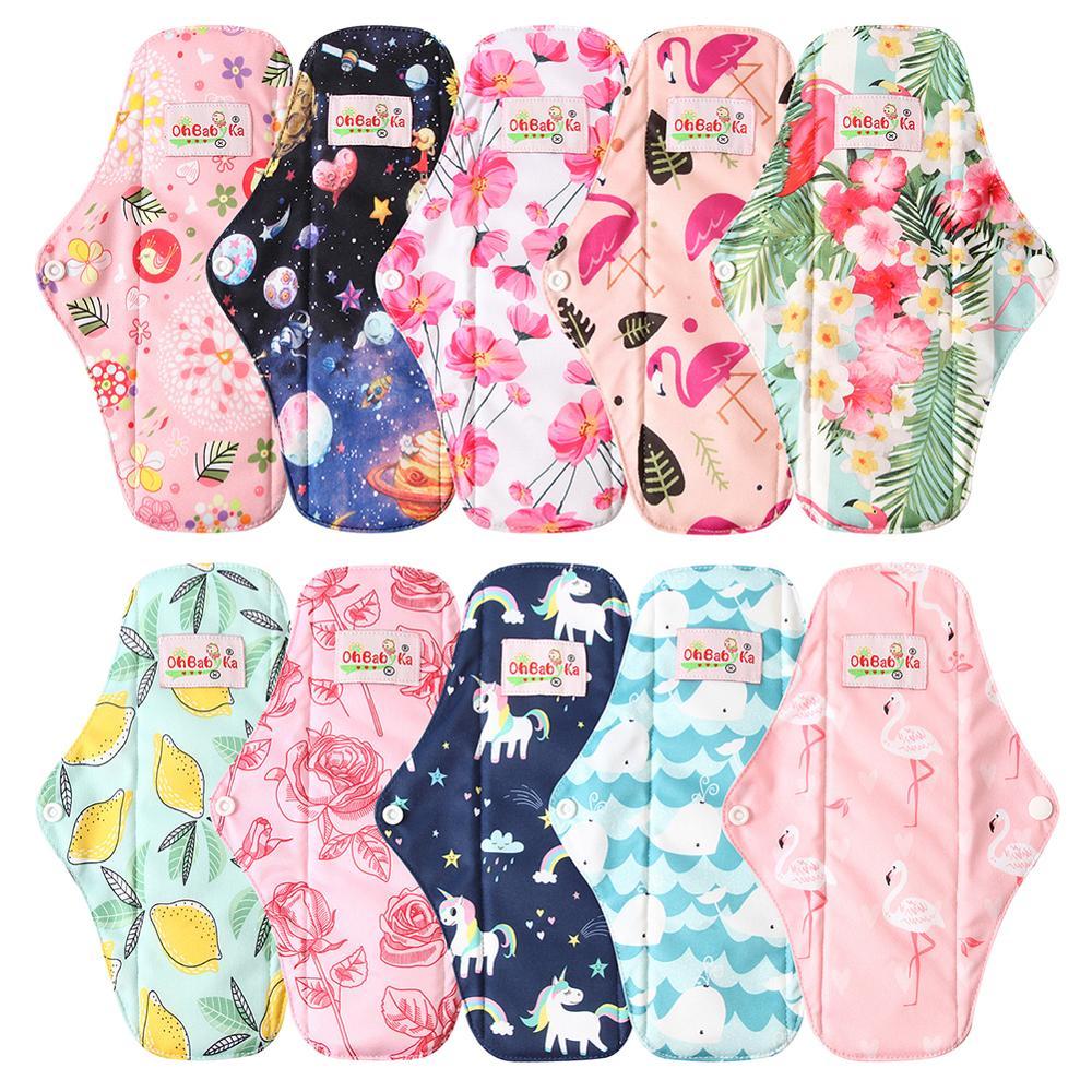 Ohbabyka Reusable Sanitary Pads Washable Panty Liner Mama Cloth Menstrual Pad Bamboo Charcoal Cotton Organic Pads S M L