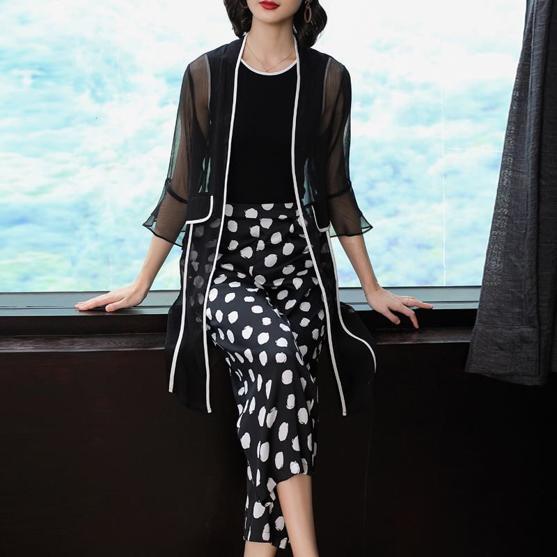 Spring Clothing 2019-Gauze Coat Vest Tops Polka Dot Loose Pants Fashion Three-piece Set Women's-