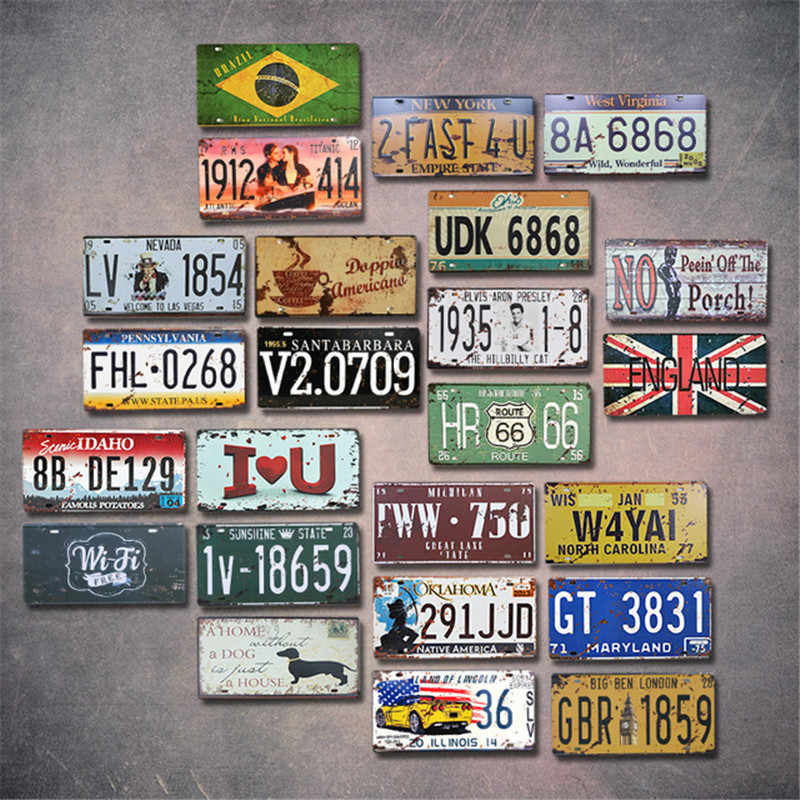 USA Route 66 Car Vintage Bolts for License Plate Poster Number Frame Metal Wall Craft Retro Garage Home Bar Shop Decoration