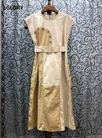Top Quality Cotton Dress 2020 Summer Style Women Color Block Patchwork Tunic Buttons Belt Deco Sleeveless Mid Calf Dress Work