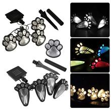 Led-Lights Solar-Powered Gardening Lawn-Decor Outdoor Design for 4pcs Dog-Pet Footprint