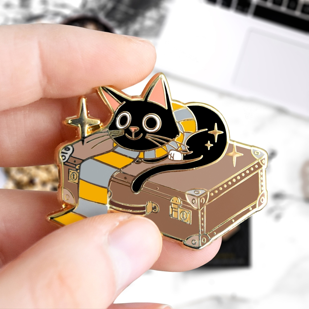 Gryffindors Magic Cat Hard Enamel Pin Cute Cartoons Jackson Scamander Wizard Black Cats Golden Backpack Pin Decor Unique Gift