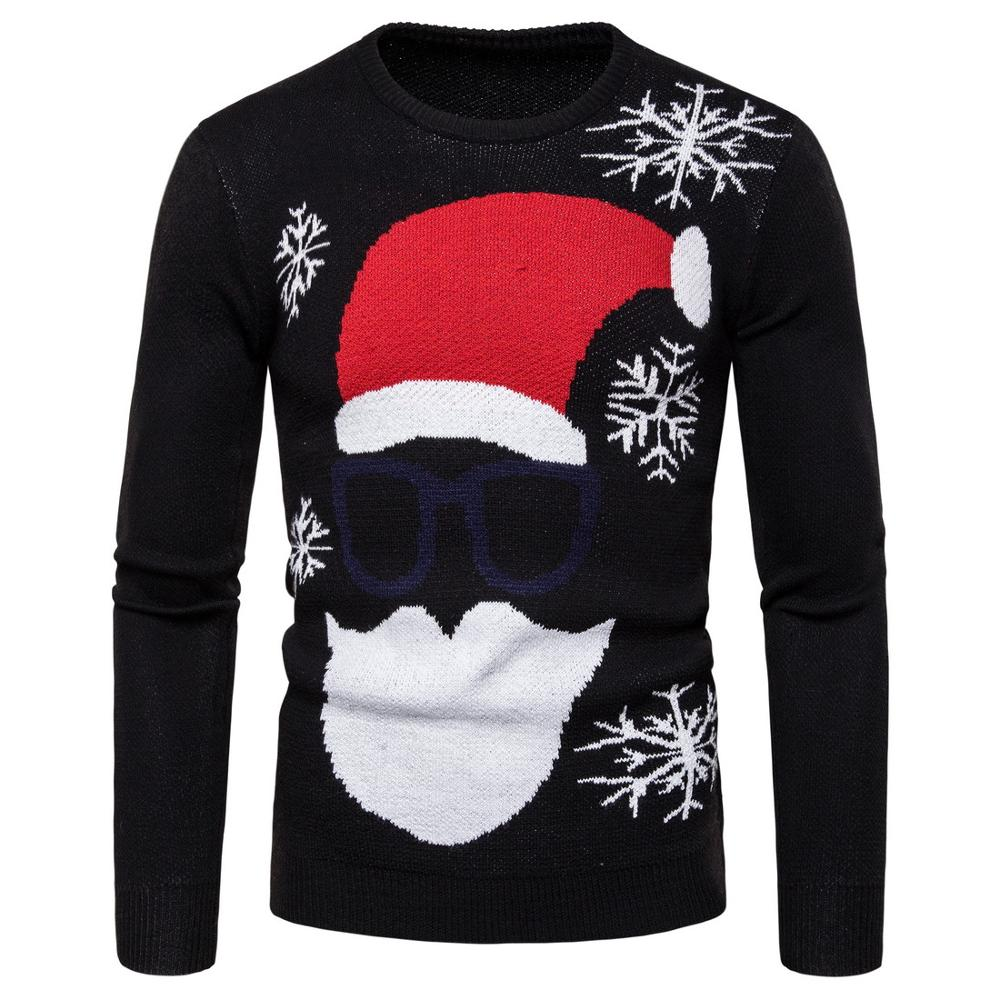 2019 Autumn New Men's Santa Claus Print Pullover Men's Large Size Round Neck Sweater Christmas J782