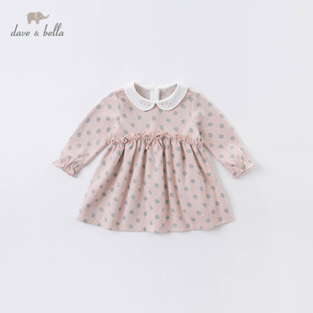 DBS14482 dave bella autumn baby girl's cute bow dots print dress children fashion party dress kids infant lolita clothes image