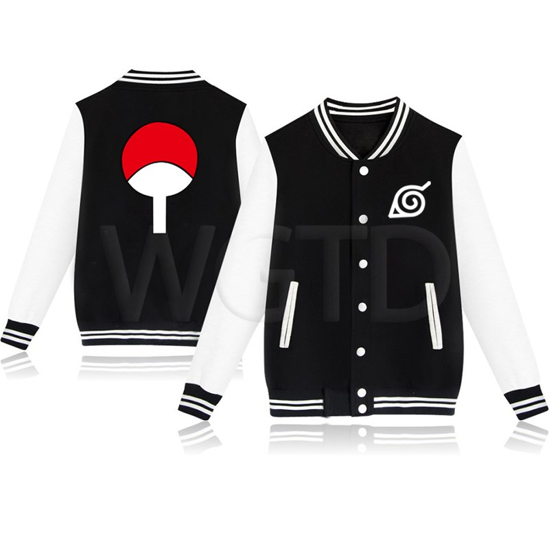 New Anime Naruto Uchiha Sasuke Woman Man Baseball Jacket Boys Girls Streetwear Casual Sweatshirt Fleece Warm Hip Hop Jacket Coat