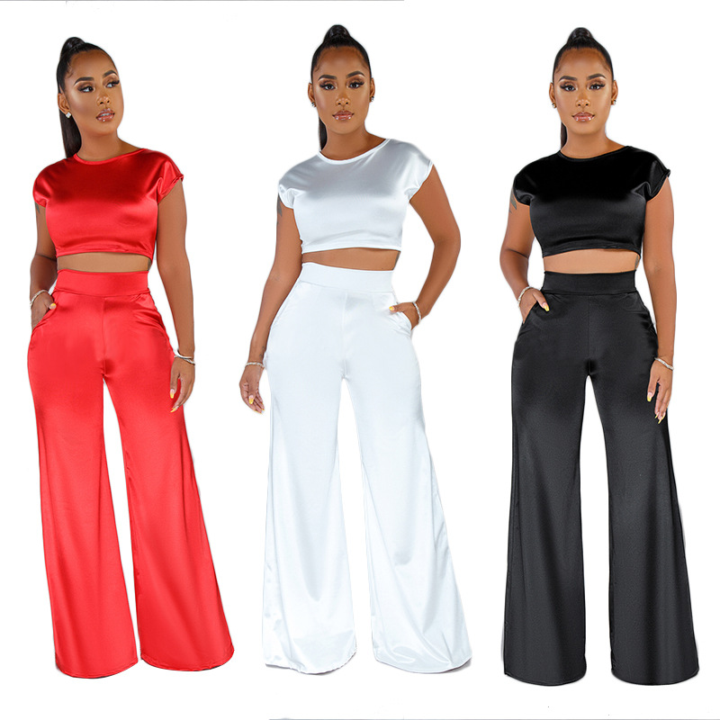 Satin 2 Piece Set Women Short Sleeve Crop Top And Wide Leg Long Pants Set Sexy Tracksuit Club Outfits Elegant Matching Sets 2019